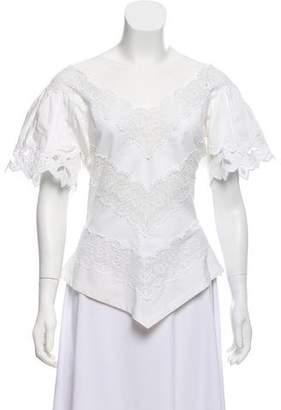 Chloé Lace Paneled Short Sleeve Top