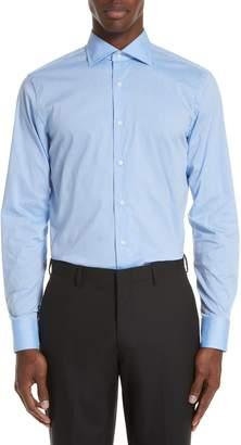 Canali Trim Fit Stretch Dot Dress Shirt