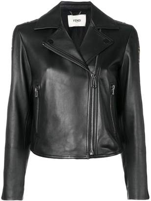 Fendi FF logo band leather jacket