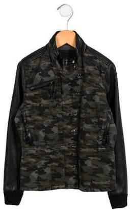 Blank NYC Girls' Camo-Paneled Moto Jacket