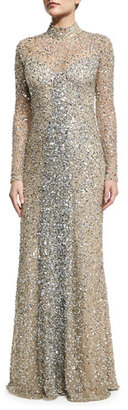 Parker Leandra Long-Sleeve Beaded Gown, Silver $698 thestylecure.com