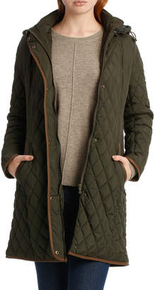Jump Long Sleeve Puffer Coat With Trim
