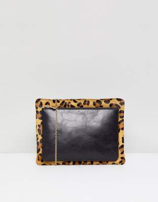 Urban Code Urbancode leather and leopard print 2 in 1 cross body bag with detachable pouch