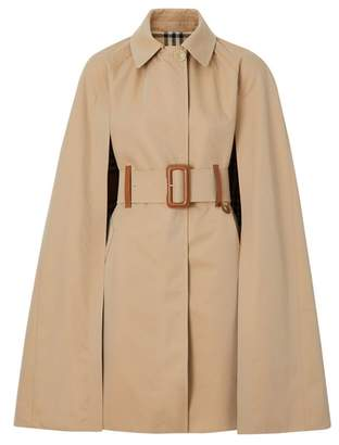 Burberry Leather Detail Cotton Gabardine Belted Cape