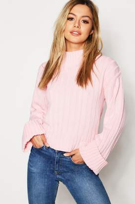 16997ce79e1d at boohoo · boohoo Petite Rib Knit High Neck Jumper