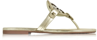 Tory Burch Miller Spark Gold Metallic Leather Flat Sandal $195 thestylecure.com