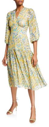 Shoshanna Aceline Printed V-Neck Blouson-Sleeve Midi Dress