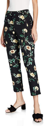 Black Tape Floral High-Rise Cropped Dress Pants