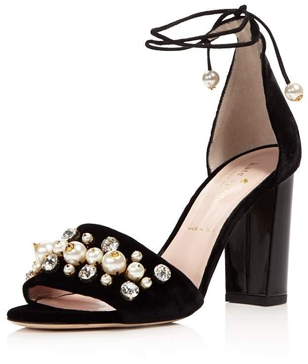 kate spade new york Iverna Embellished Velvet Lace Up High Heel Sandals