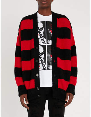 DSQUARED2 Striped alpaca-blend cardigan