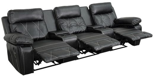 Offex Real Comfort Series 3-seat Reclining Leather Theater Seating Unit with Straight Cup Holders