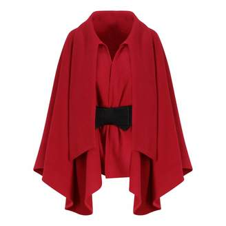 Zalinah White Alyona Wool Manteau Cape Coat In Classic Red With Belt