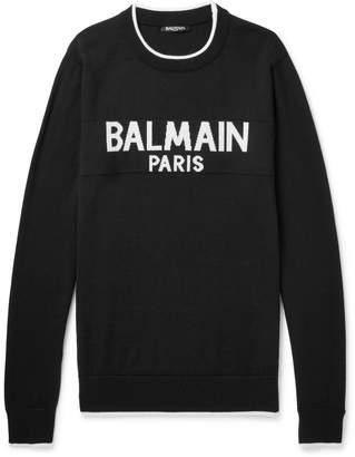 Balmain Logo-Intarsia Wool Sweater