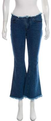 Marques Almeida Marques' Almeida Mid-Rise Wide-Leg Frayed-Accented Jeans