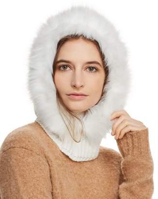 Echo Faux Fur-Trim Hooded Scarf
