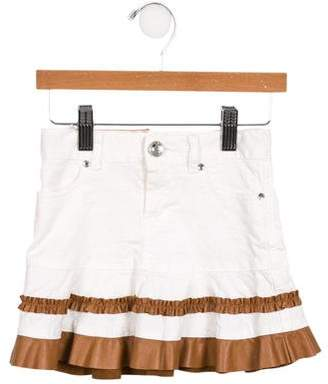 MonnaLisa Girls' Ruffle-Accented Patterned Skirt