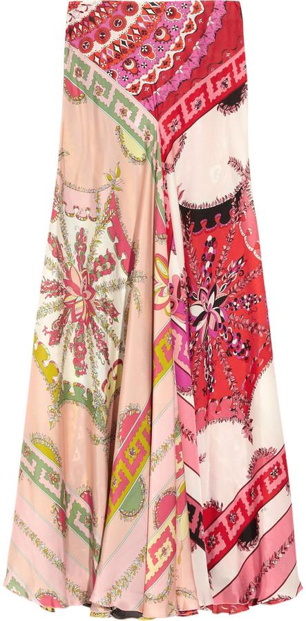 Emilio Pucci Printed silk-charmeuse maxi skirt