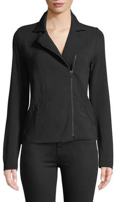 Neiman Marcus Majestic Paris for French Terry Zip-Front Moto Jacket