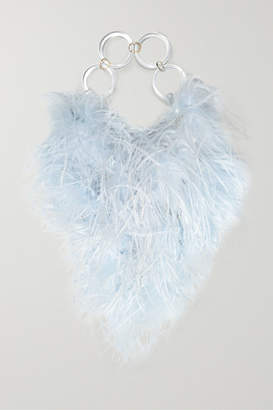 Vanina - L'oiseau Rebelle Feather-embellished Acrylic Tote - Blue