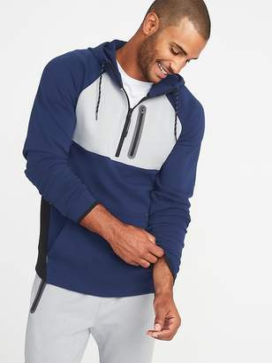 Old Navy Dynamic Fleece 4-Way-Stretch Color-Block 1/2-Zip Hoodie for Men