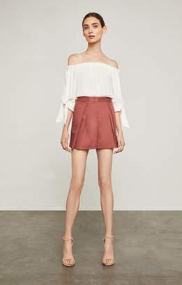BCBGMAXAZRIA Pleated Cotton Short