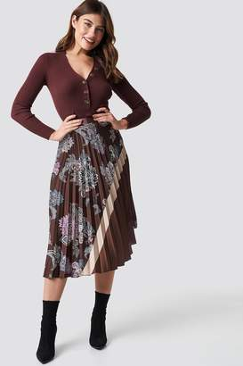 MANGO Flytres Midi Skirt Brown