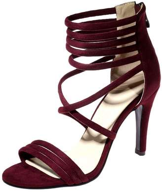 SaraIris Women's Stiletto High Heels Zipper Wide Calf Lycra Suede Over The Knee Boots