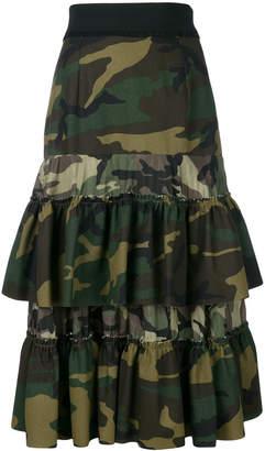 Gina camouflage print ruffled skirt