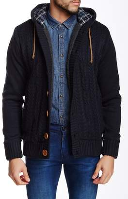 American Stitch Knit Cardigan Button-Up Hoodie