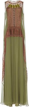 Alberta Ferretti Chiffon Graphic Lace Maxi Dress