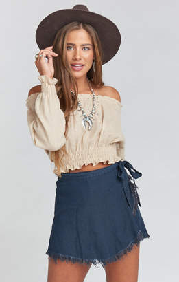 Show Me Your Mumu The Great Wrap Shorts ~ Midnight Chambray