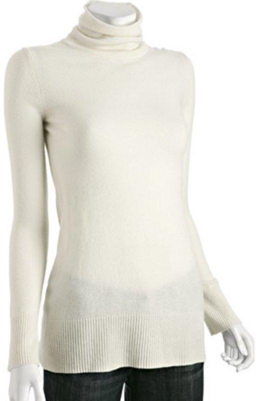 CeCe ivory cashmere turtleneck sweater