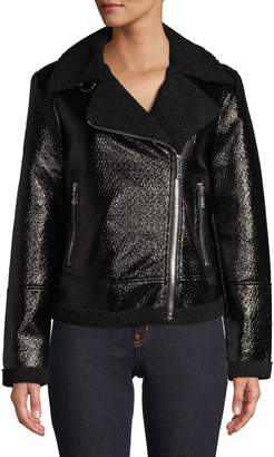Tommy Hilfiger Metallic Faux Shearing Moto Jacket