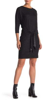 Modern Designer Tie Front Long Sleeve Knit Dress
