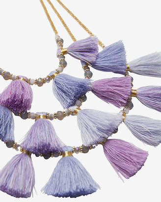 Express Three Row Beaded Tassel Necklace
