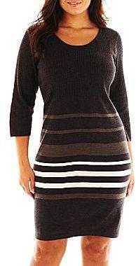 Studio 1 Striped Sweater Dress - Plus