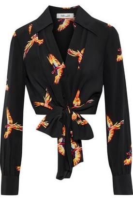 e503f0f7f3766f Diane von Furstenberg Tie-front Cropped Floral-print Silk Blouse