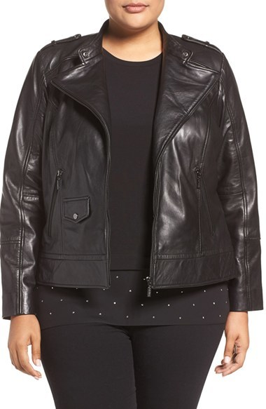 Bernardo Plus Size Women's Bernardo Leather Moto Jacket