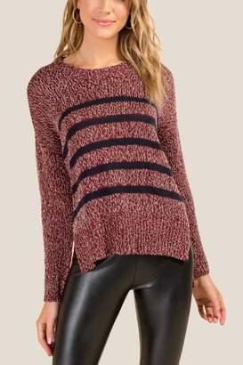 francesca's Autumn Striped Sweater - Wine
