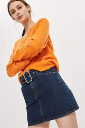 Topshop Moto buckle denim mini skirt