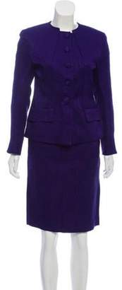 Christian Dior Silk & Wool-Blend Patterned Skirt Suit Purple Silk & Wool-Blend Patterned Skirt Suit