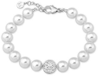 Majorica Sterling Silver Pave Bead & Imitation Pearl Link Bracelet