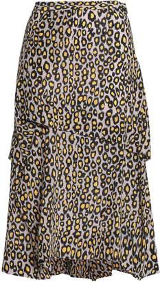 Derek Lam Jaune Printed Silk Crepe De Chine Skirt