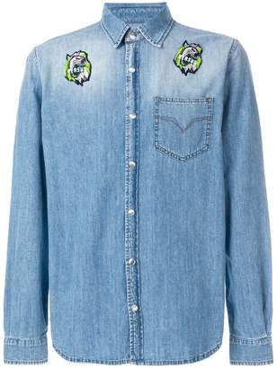 Versus logo patch denim shirt
