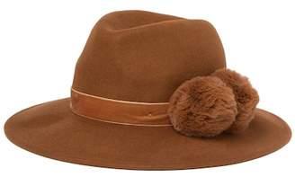 BCBGMAXAZRIA Double Fur Pompom Panama Hat