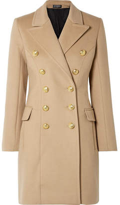 Balmain Double-breasted Wool And Cashmere-blend Coat - Beige