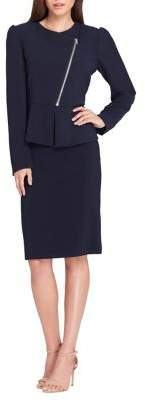 Tahari Arthur S. Levine Asymmetrical Zip Front Jacket and Skirt Suit