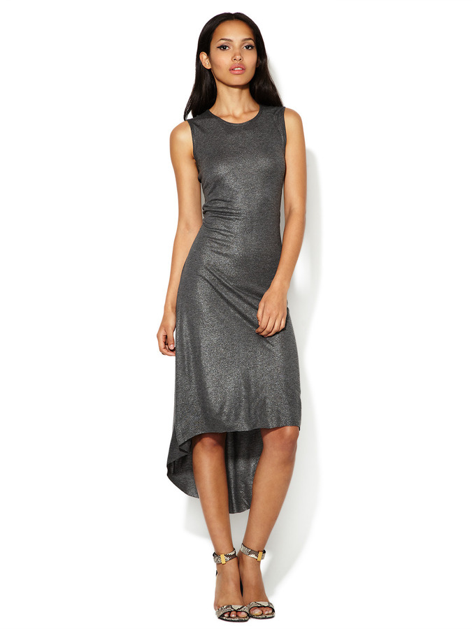Nanette Lepore Elroy Metallic Jersey High-Low Dress