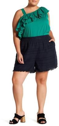 Joe Fresh Striped Fringe Hem Shorts (Plus Size)