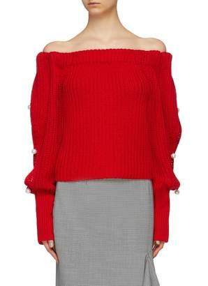 Hellessy 'Vessel' faux pearl sleeve off-shoulder sweater